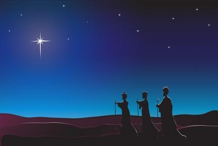 christmas crown: Los Reyes Magos siguen la estrella de Oriente a Bel�n. Escena de la Natividad. EPS10 formato de vector. Espacio para texto.