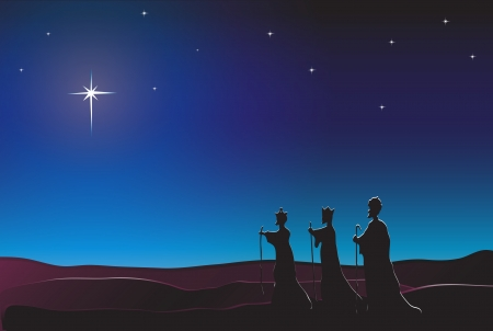 The Three Kings follow the star in the East to Bethlehem. Nativity scene. EPS10 vector format. Space for text. Vector