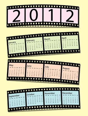 2012 film strip calendar in pastel shades. EPS10 vector format. Stock Vector - 10631621