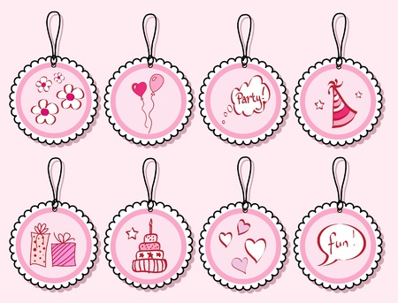 A set of birthday doodle gift tags in shades of pink. EPS10 vector format. Vector