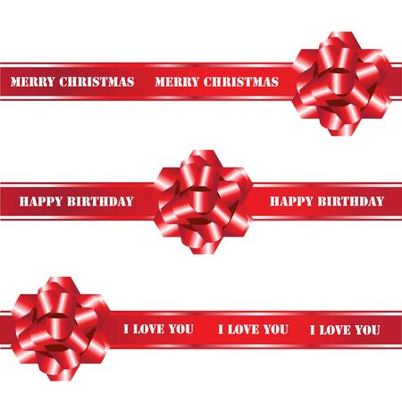 bows and ribbons: A seamless vector of red gift bows and ribbons on white background. Fully editable to enable insertion of your own text. EPS10 vector format.