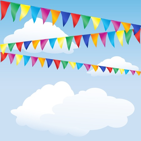 bunting: Strings of bunting against sky. Space for your text. EPS10 vector format