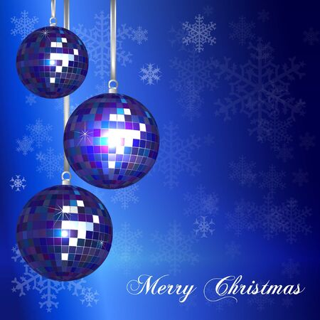 Christmas card templatewithvintage style disco balls and lsnowflake background. Space for your text. EPS10 vector format. Vector