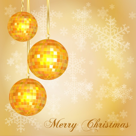 Christmas card template with vintage style disco balls and snowflake background. Space for your text. EPS10 vector format. Vector