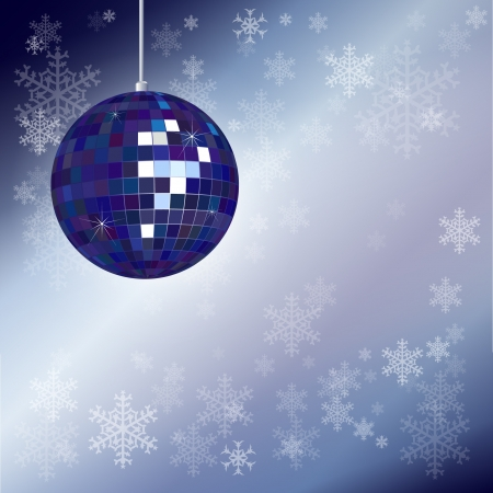 Christmas disco ball with snowflake background and space for your text. EPS10 vector format.