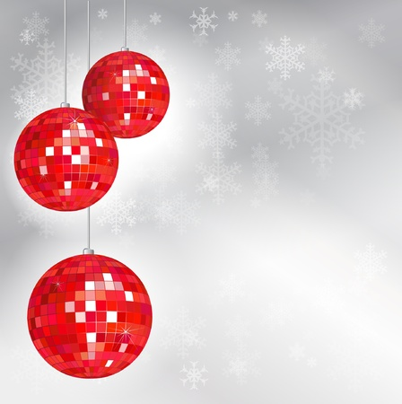 Christmas disco balls with snowflake background and space for your text. EPS10 vector format. Vector