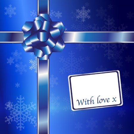 Christmas gift with blue ribbons and bow with space for your text. EPS10 vector format. Stock Vector - 10631680