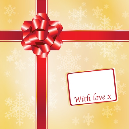 Christmas gift with red ribbons and bow with space for your text. EPS10 vector format. Vector