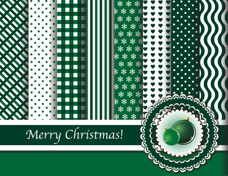 Christmas digital scrapbooking paper swatches in green and white with ribbon and Christmas baubles. EPS10 vector format. Vector