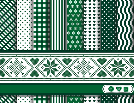 Christmas digital scrapbooking paper swatches in green and white with Scandinavian style ribbon. EPS10 vector format. Vector