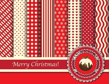 Christmas digital scrapbooking paper swatches in retro tones with ribbon and puddng. EPS10 vector format. Vector