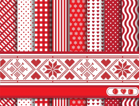 chequered backdrop: Christmas digital scrapbooking paper swatches in red and white with Scandanavian style ribbon. EPS10 vector format.