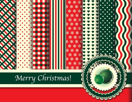 Christmas digital scrapbooking paper swatches in retro tones with ribbon and Christmas baubles. EPS10 vector format.