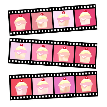 Photos of pink cherry cup cakes in vaus shades. EPS10 vector format. Stock Vector - 10631583