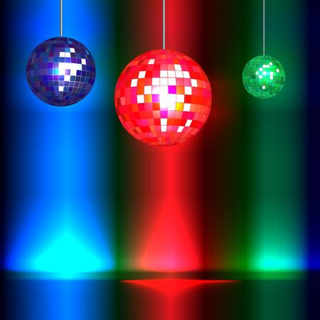 Dance floor with vintage style disco balls and lights with space for your text. EPS10 vector format. Vector