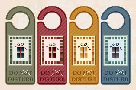 dormir habitaci�n: Colgadores de puerta de Navidad estilo vintage. Formato vectorial de EPS10 Vectores