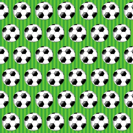 Seamless football pattern on striped grass background. EPS10 vector format. Vector