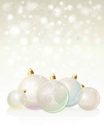 neutral background: Glass Christmas baubles on snowflake background with space for your text. Neutral background with pastel, transparent glass baubles. EPS10 vector format.
