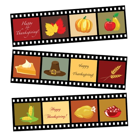 pilgrims: Happy Thanksgiving card template. Photos of Thanksgiving icons. EPS10 vector format. Illustration