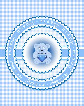 Its a boy. Bear on blue gingham. Vector