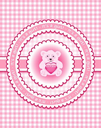 Its a girl. Bear on pink gingham Vector