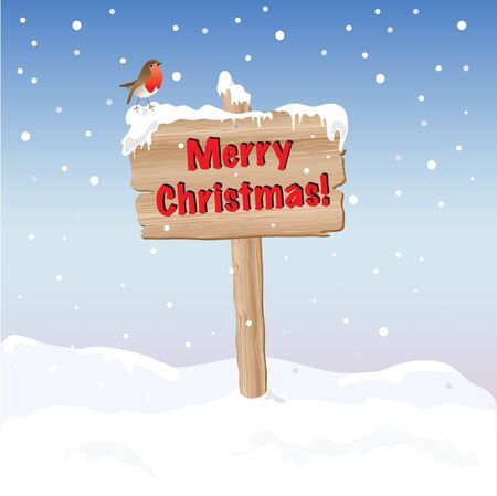 A wooden sign wishing Merry Christmas. EPS10 vector format. Fully editable for insertion of your own text. Vector