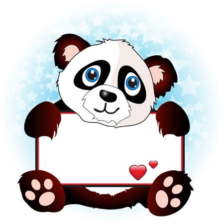 A cute cartoon panda holding a banner with hearts onsubtle star background. Space for your text. EPS10 vector format 向量圖像