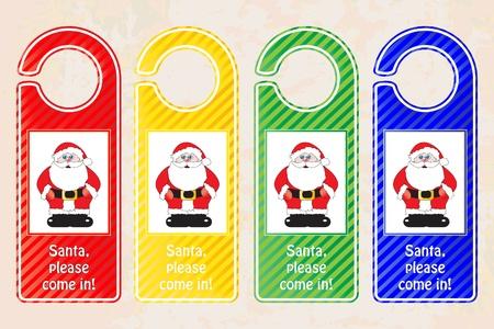 Christmas door hangers. Christmas concept with  Vector