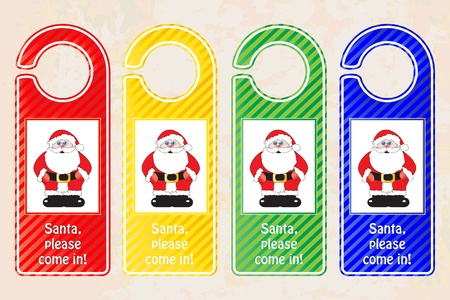 hotel rooms: Christmas door hangers. Christmas concept with