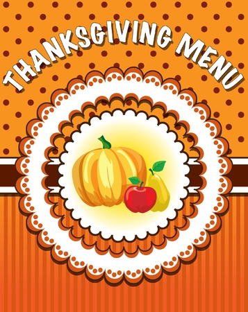 Retro style Thanksgiving Menu template with pumpkin and fruit. EPS10 vecter format Vector
