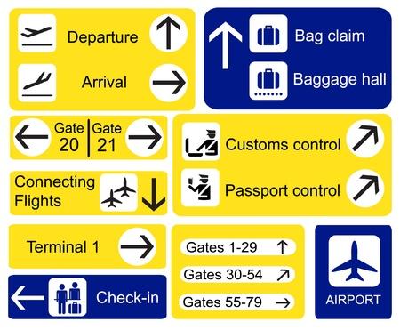 guia turistica: Una selecci�n de los signos del aeropuerto. Formato vectorial de EPS10