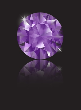 A brilliant cut amethyst isolated on black with reflection. Space for text. EPS10 vector format Stock Vector - 10631676
