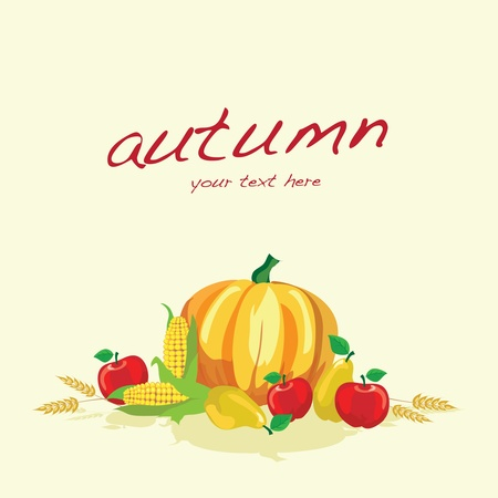 Autumn vegetables on plain background with space for text. EPS10 vector format. Vector