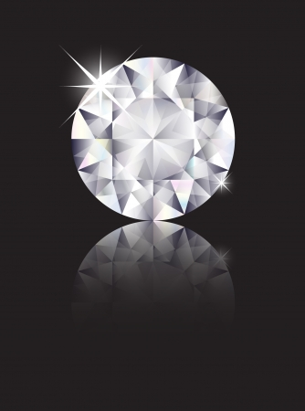 A brilliant cut diamond isolated on black with reflection. Space for text. EPS10 vector format Vector