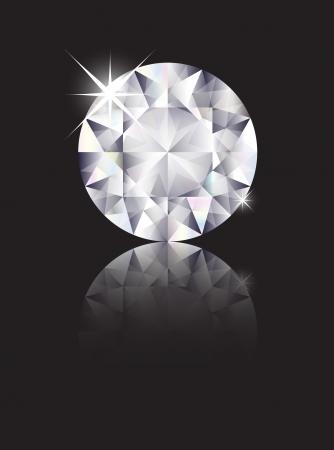 diamante negro: Un brillante corte diamante aislado en negro con la reflexi�n. Espacio para el texto. Formato vectorial de EPS10