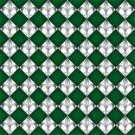 A seamless pattern of Fleur de Lys tiles on green background. EPS10 vector format Vector