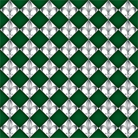 A seamless pattern of Fleur de Lys tiles on green background. EPS10 vector format Vector