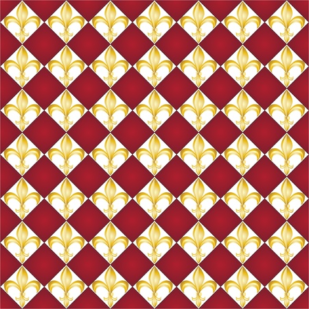 lis: A seamless pattern of Fleur de Lys tiles on red background.