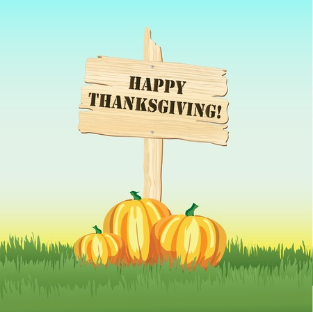 Happy Thanksgiving message on post with pumpkins under Vector