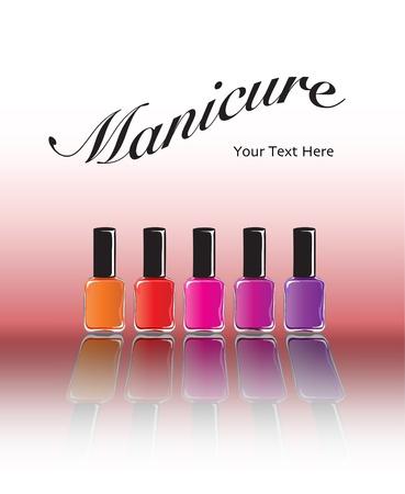 Bottiglie di smalto per unghie in varie tonalità con la riflessione. Concetto di manicure con spazio per il testo. Formato vettoriale EPS10. Vettoriali