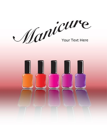 cosmetic lacquer: Bottles of nail polish in various shades with reflection. Manicure concept with space for text. EPS10 vector format.
