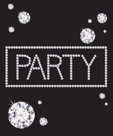 """invitaci�n a fiesta: La palabra """"partido"""" escrito en diamantes Vectores"""