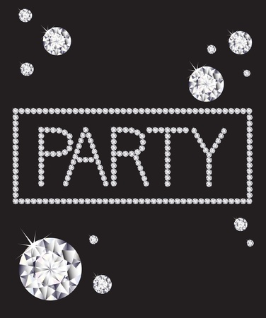 party invitation: The word party written in diamonds Illustration