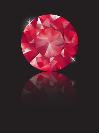 ruby: A brilliant cut ruby isolated on black with reflection. Space for text. EPS10 vector format