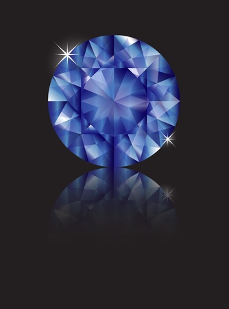 A brilliant cut sapphire isolated on black with reflection. Space for text. EPS10 vector format