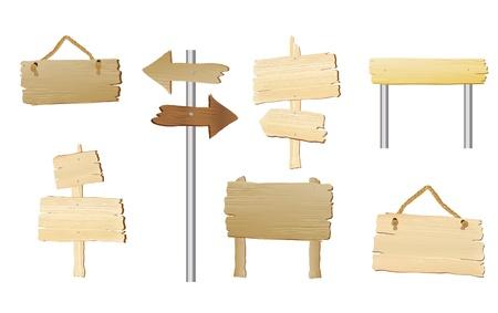 Un insieme di segni di legno bianco con spazio per il testo. EPS10 formato vettoriale.