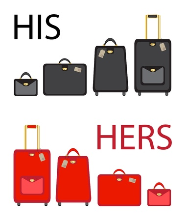 His and hers luggage sets on white background. EPS10 vector format Vector