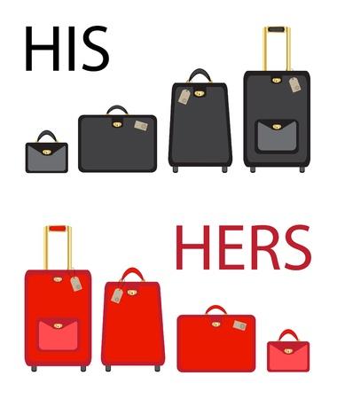 bagage: Son et Sienne bagages d�finit sur fond blanc. Format vectoriel de EPS10