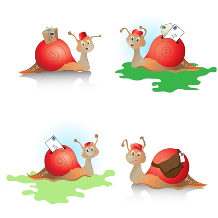 Cartoons snails with mail. Concept depicting snail mail. EPS10 vector format. Illustration