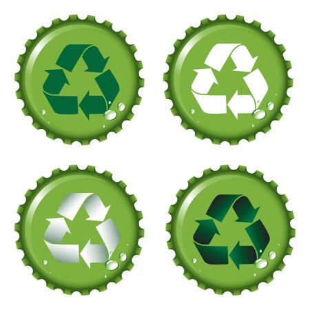 recycling bottles: Green bottle tops with recycle emblem and condensation drops